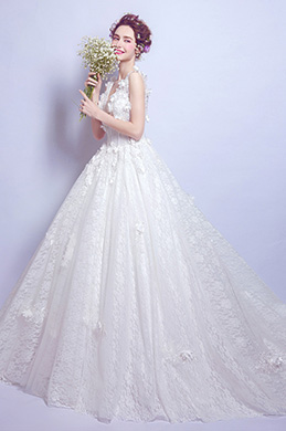 eDressit White V-Cut Floral Long Train Wedding Dress (36194507)