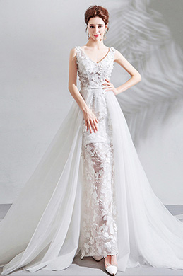 eDressit Sexy V-Cut Lace Tulle Long Formal Wedding Bridal Dress (36205407)
