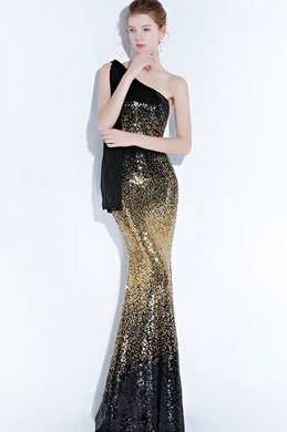 eDressit Glamorous One Shoulder Black-Gold Sequins Party Prom Dress (36218300)