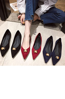 Women Daily Suede Toe Closed Pointed Flat Shoes (0919075)