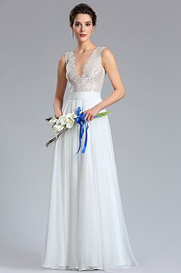 eDressit White Sexy Deep V-neck Embroidered Lace Wedding Gown (01180507)