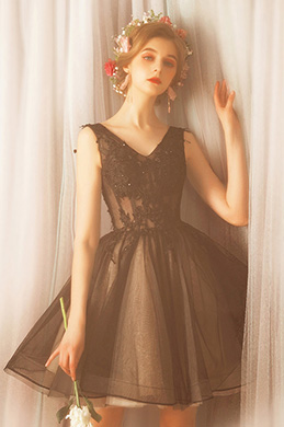 eDressit Lovely Black Tulle Short Party Cocktail Dress (35190200)