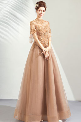 eDressit High Neck Sleeves Tulle Elegant Party Ball Gown (36213124)