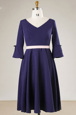 eDressit Navy Blue V-cut Mother of the Bridal Dress Plus Size Dress (31191605)