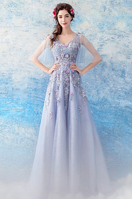 eDressit Sexy V-Cut Floral Embroidery Party Prom Gown (36207708)