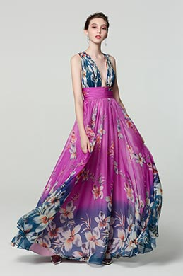 eDressit Purple V-Cut Strap Print Floral Ball Party Dress (00183168K)