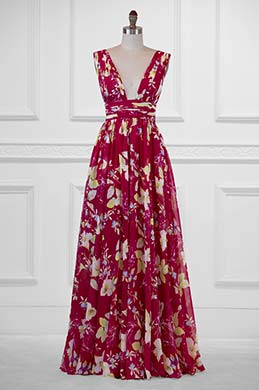 eDressit Plunging V-Cut Strap Print Floral Evening Dress(00183168B)