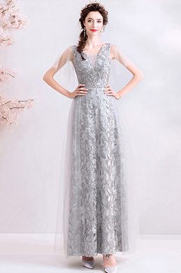 eDressit Grey Deep V-Cut Lace Tulle Party Ball Gown (36212108)