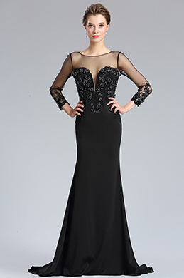 eDressit Black Tulle Top V cut sleeves Evening Prom Dress (26181900)