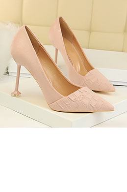 Women's Velvet Pattern High Heel Closed Toe Pumps Shoes (0919009)