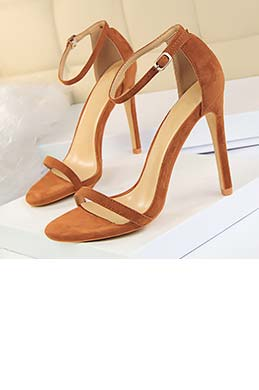 Women's Suede Open Toe Buckle High Heel Sandals Shoes (0919031)