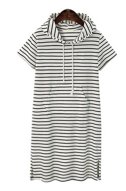 eDressit Women Short Sleeves Stripe Hoodies Dress (31190107)