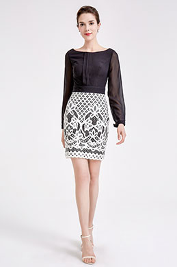 eDressit Black &White Chiffon Lace Blouse Suit Dress (03190200)