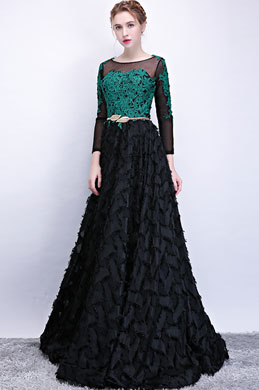 eDressit Green Lace Applique Black Ruffle Long Party Dress (36215904)