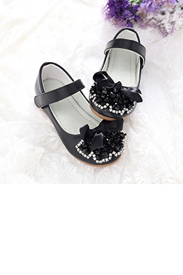 eDressit Black Girl's Round Toe Leather Flat Flower Dance Shoes (250018)