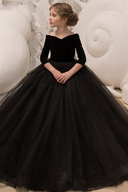 eDressit Black Off Shoulder Empire Wedding Flower Girl Dress (27195300)