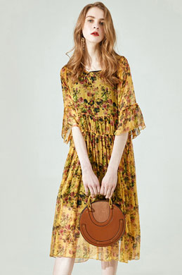eDressot Silk Short Sleeves Printed Dress Day Dress (30194368)