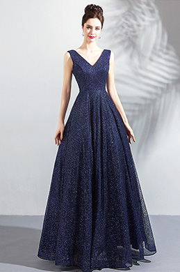 eDressit New Sparkle Blue V-Cut Evening Prom Party Dress (36202305)