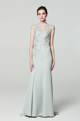 eDressit Grey Cap sleeves Embroidery Prom Party Dress (02190408)