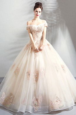 eDressit Beige Off-Shoulder Lace Applique Tulle Party Prom Dress (36205514)