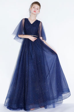 eDressit Sexy Navy Blue V-Cut Sequins Tulle Party Prom Gown (36216905)