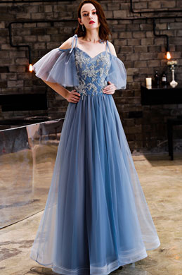eDressit Sexy Blue Off-Shoulder Embroidery Tulle Party Prom Dress (36218805)