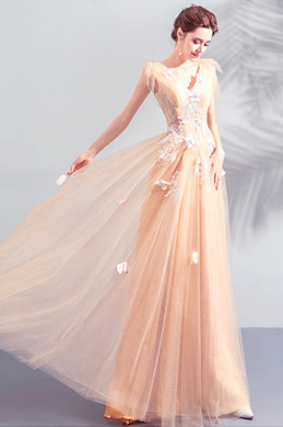 eDressit Sexy Orange Embroidery Tulle Party Prom Dress (36209810)