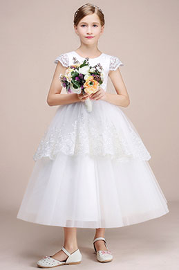 eDressit White Lace Long Wedding Flower Girl Dress (27194707)