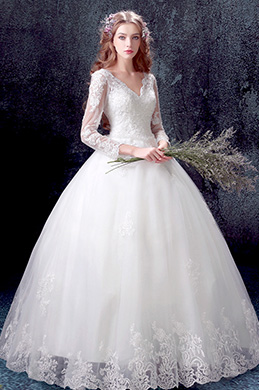 eDressit Lace V-Cut Long Sleeves Puffy Bridal Wedding Dress (36196707)