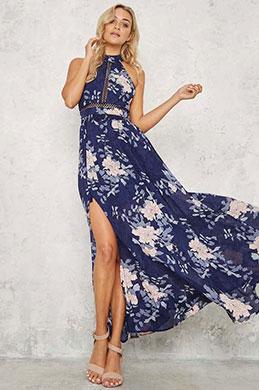 eDressit Halter Long Printed Holiday Dress Summer Dress (36191668)