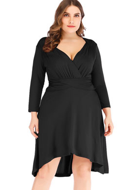 eDressit Simple Plus Size V-cut Cocktail Dress Women Dress (31190705)