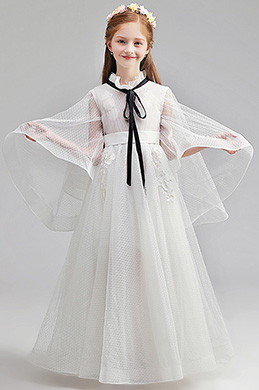 eDressit Romantic Long Sleeves White Wedding Flower Girl Dress (27197107)