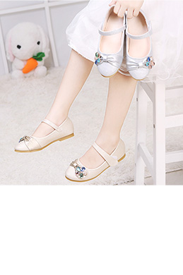 Girl's Gold & Sliver Round Toe Leather Flat Dance Shoes (250042)
