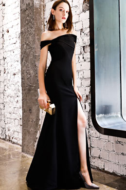 eDressit Black Off Shoulder High Slit Party Evening Dress (36218900)
