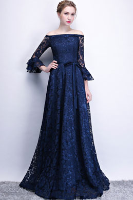 eDressit Navy Blue Off Shoulder Sleeves Party Prom Dress (36216005)