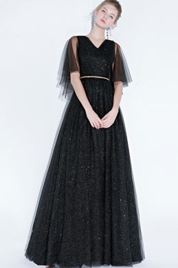 eDressit Sexy Black  V-Cut Sequins Tulle Party Prom Gown (36217500)