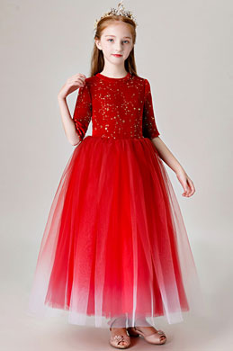 eDressit Red Long Tulle Handmade Flower Girl Dress (27205802)