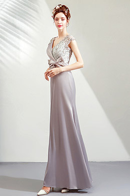 eDressit Grey V-Cut Lace Appliques Party Prom Dress (36206608)