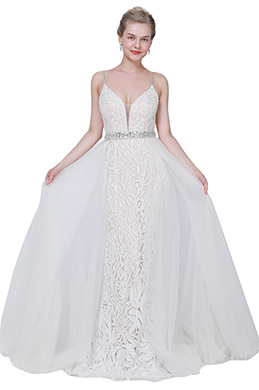 eDressit New Sexy V-Cut Lace Overlay Tulle Party Wedding Dress (02193114)