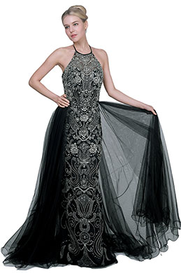 eDressit Sexy Black Halter Beads Halter Overlay Party Ball Dress (02191600)