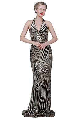 eDressit New Shiny Halter Zebra Pattern Sequins Party Ball Dress (02193924)