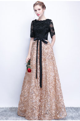 eDressit Black Lace Applique Elegant  Party Prom Dress (36218200)