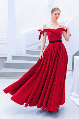 eDressit Red Off Shoulder Silk Velvet Party Evening Dress (36221402)
