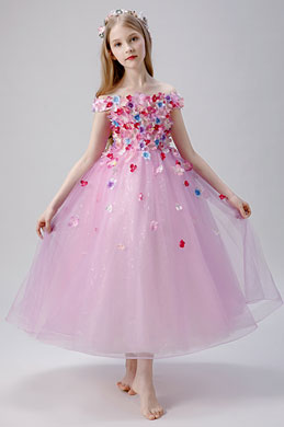eDressit Pink Flower Applique Little Girl Dress (27206501)