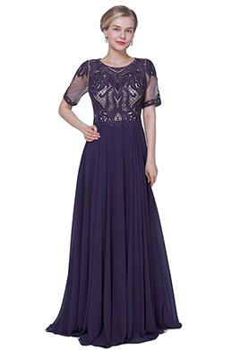 eDressit New Purple Embroidery Short Sleeves Party Evening Dress (26192306)