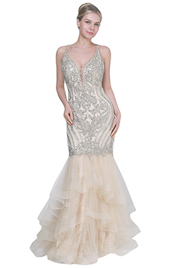 eDressit New Beige V-Cut Neck Beaded Party Formal Dress (02191914)