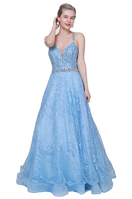 eDressit NEW Blue V-Cut Beaded Tulle Long Party Prom Dress (00191805)