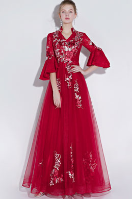 eDressit Red V-Cut NeckLine Mid Sleeves Party Ball Gown (36217402)