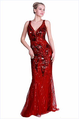 eDressit New Red Deep V-Cut Sequins Party Evening Dress (00191902)
