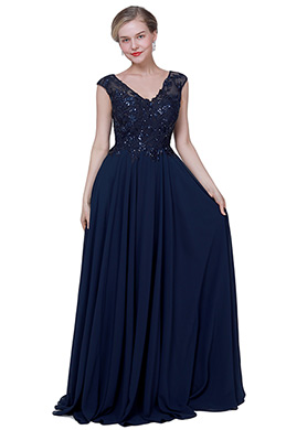 eDressit Sexy Blue V-Cut Chiffon Elegant Prom Evening Dress (02192605)